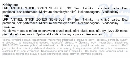 LA ROCHE-POSAY ANTHELIOS Zone stick 50+ 9ml