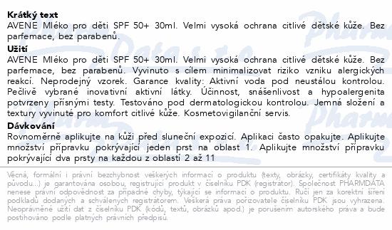 AVENE Sun Mléko pro děti SPF50+ 250ml